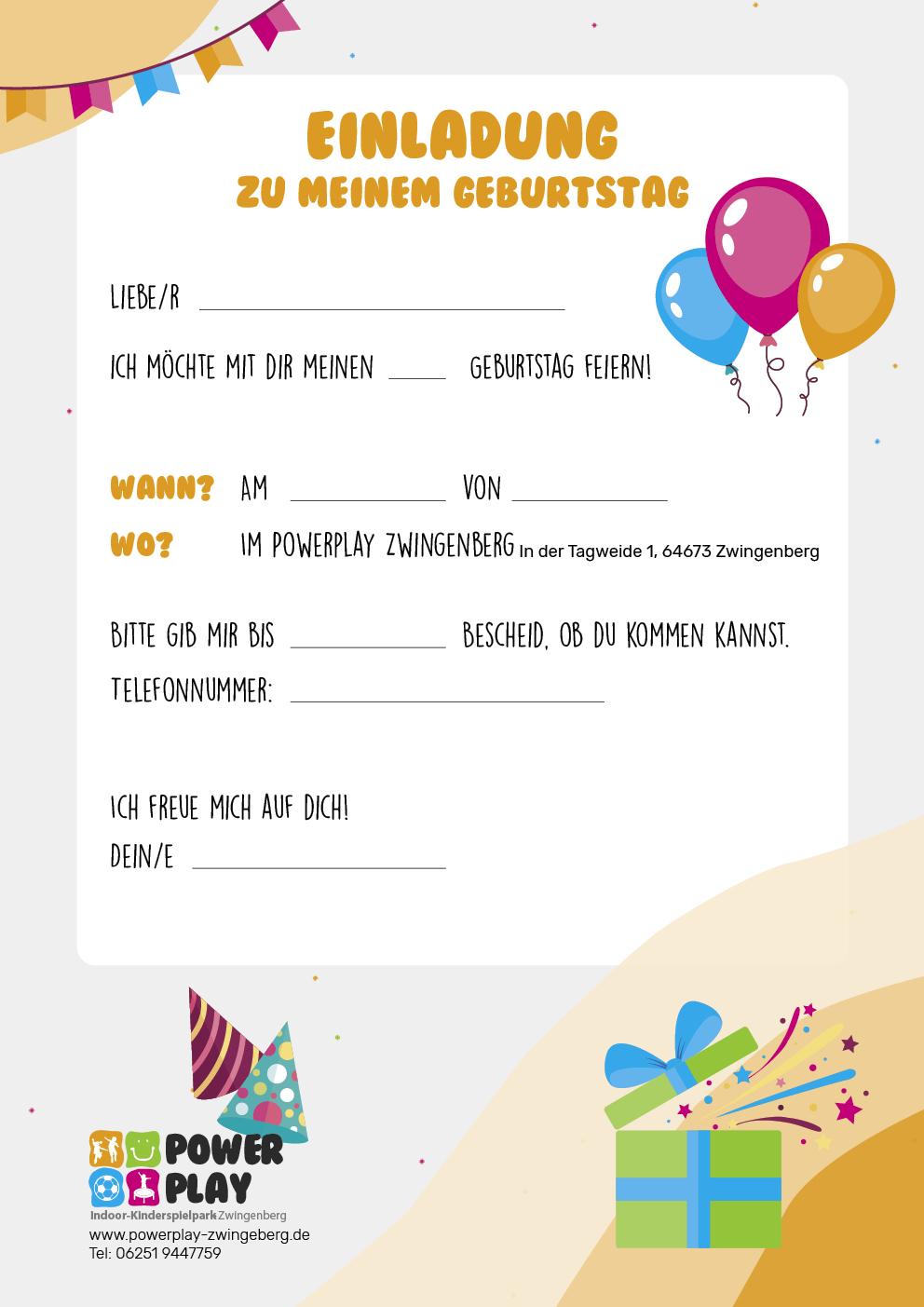 Downlaods Geburtstagseinladung